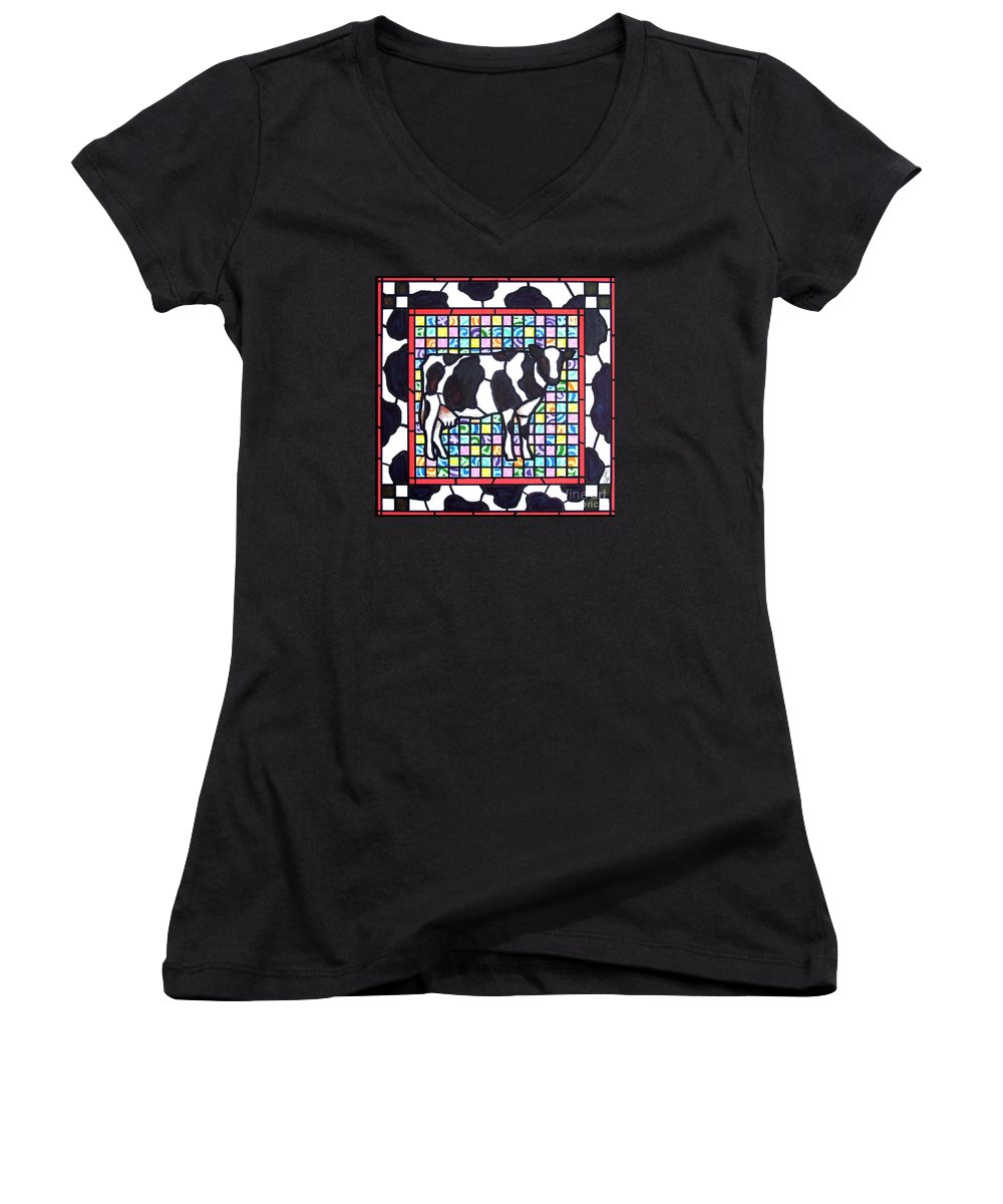 Cattke Women's V-Neck T-Shirt featuring the painting Holstein 3 by Jim Harris