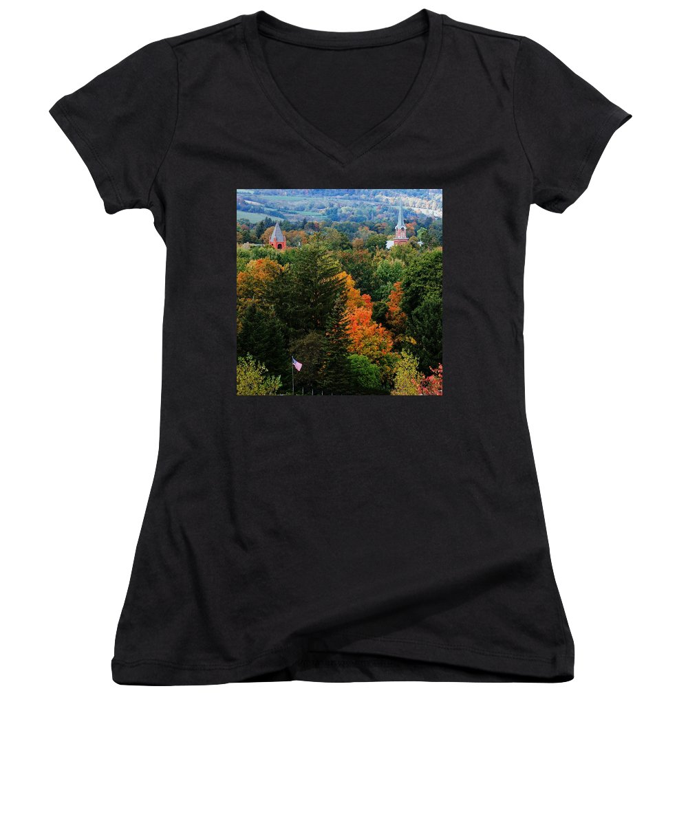 Landscape Women's V-Neck T-Shirt featuring the photograph Homer Ny by David Lane