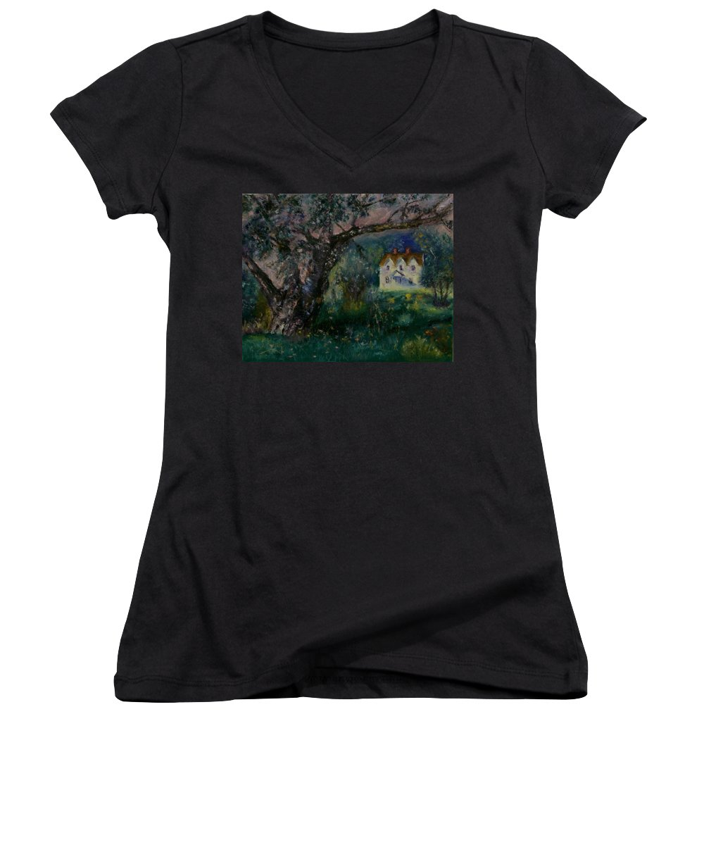 Landscape Women's V-Neck (Athletic Fit) featuring the painting Homestead by Stephen King