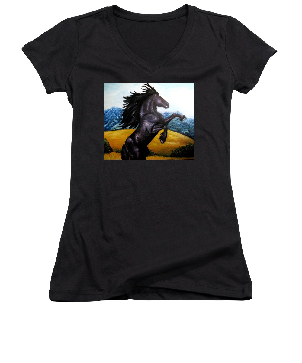 Horse Women's V-Neck (Athletic Fit) featuring the painting Horse Oil Painting by Natalja Picugina