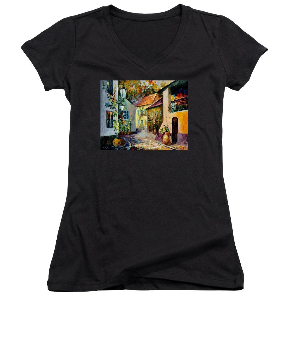 Landscape Women's V-Neck (Athletic Fit) featuring the painting Hot Noon Original Oil Painting by Leonid Afremov