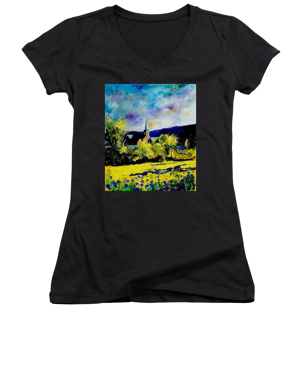Poppies Women's V-Neck T-Shirt featuring the painting Hour Village Belgium by Pol Ledent