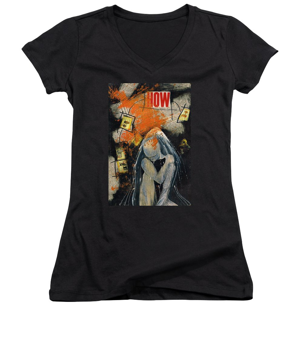 Collage Bubble Aura Thoughts Women's V-Neck T-Shirt featuring the mixed media how by Veronica Jackson
