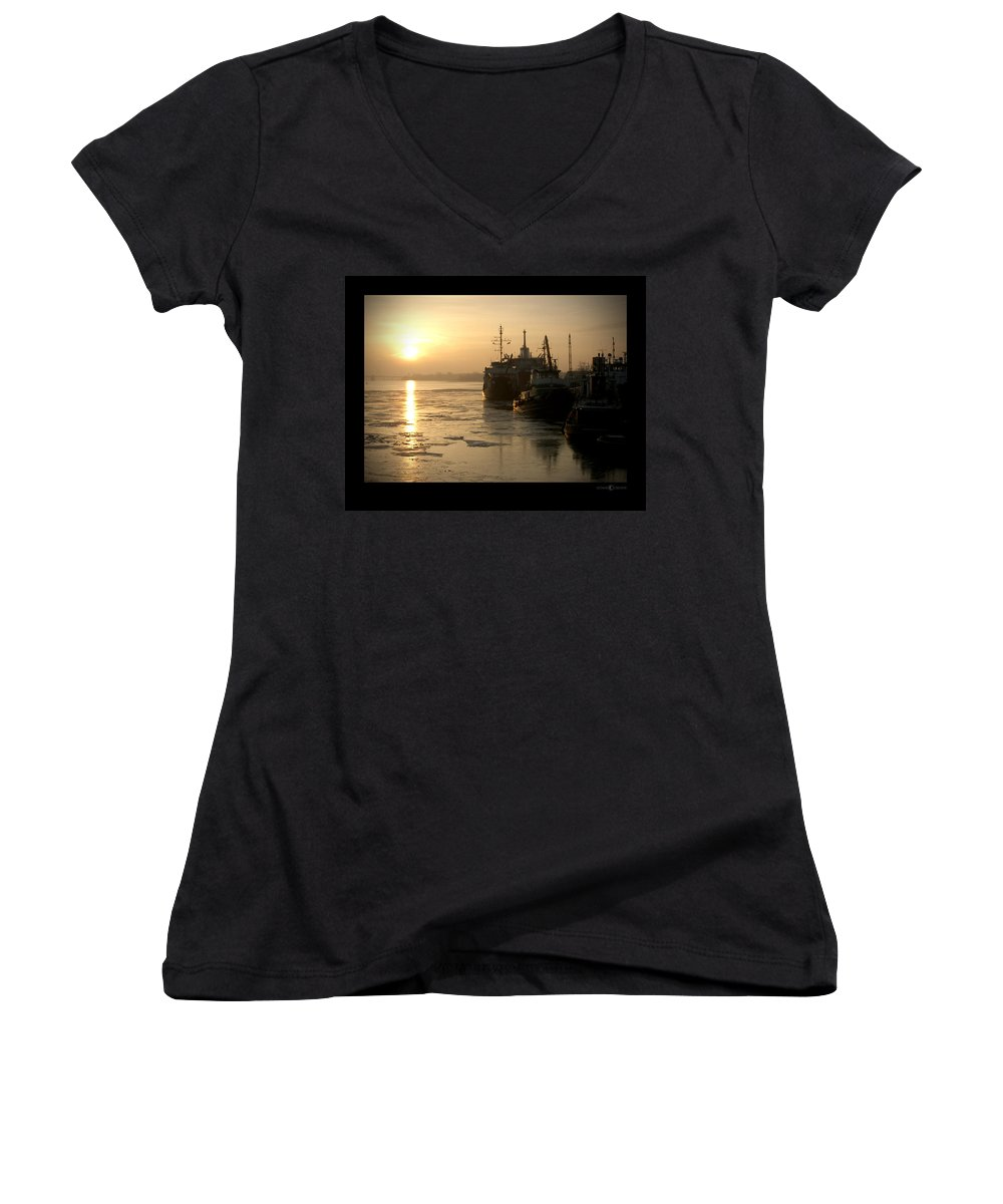 Boat Women's V-Neck T-Shirt featuring the photograph Huddled Boats by Tim Nyberg