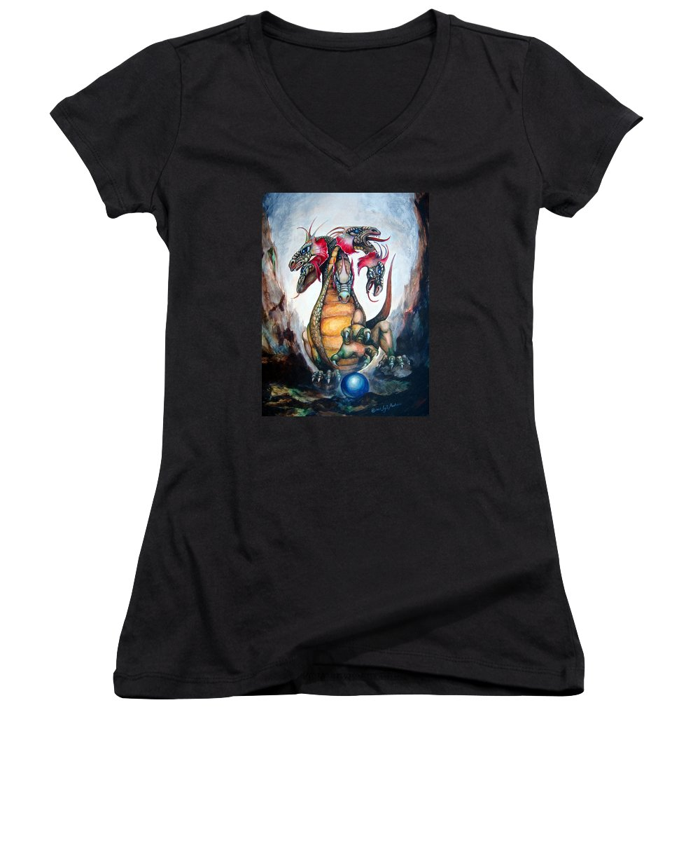 Hydra Women's V-Neck (Athletic Fit) featuring the painting Hydra by Leyla Munteanu