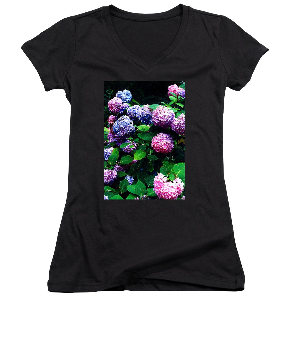 Flowers Women's V-Neck T-Shirt featuring the photograph Hydrangeas by Nancy Mueller