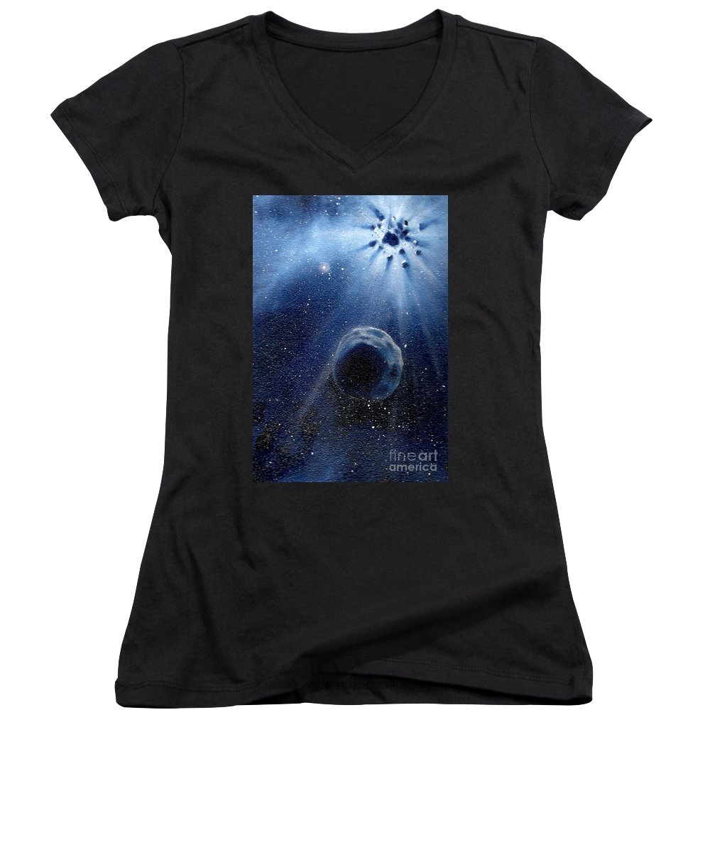 Outerspace Women's V-Neck (Athletic Fit) featuring the painting Impressive Impact by Murphy Elliott