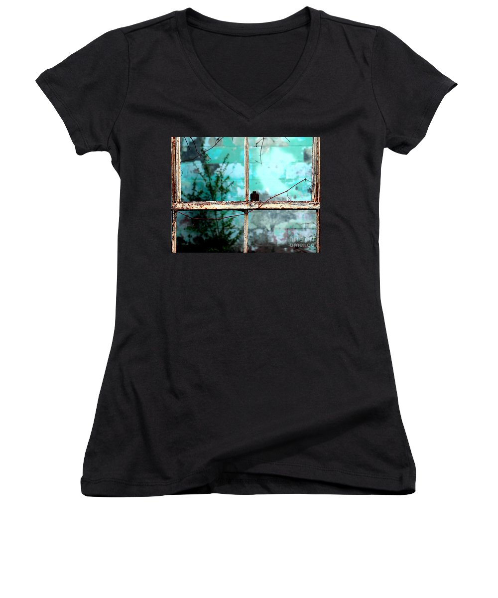 Windows Women's V-Neck T-Shirt featuring the photograph In Or Out by Amanda Barcon