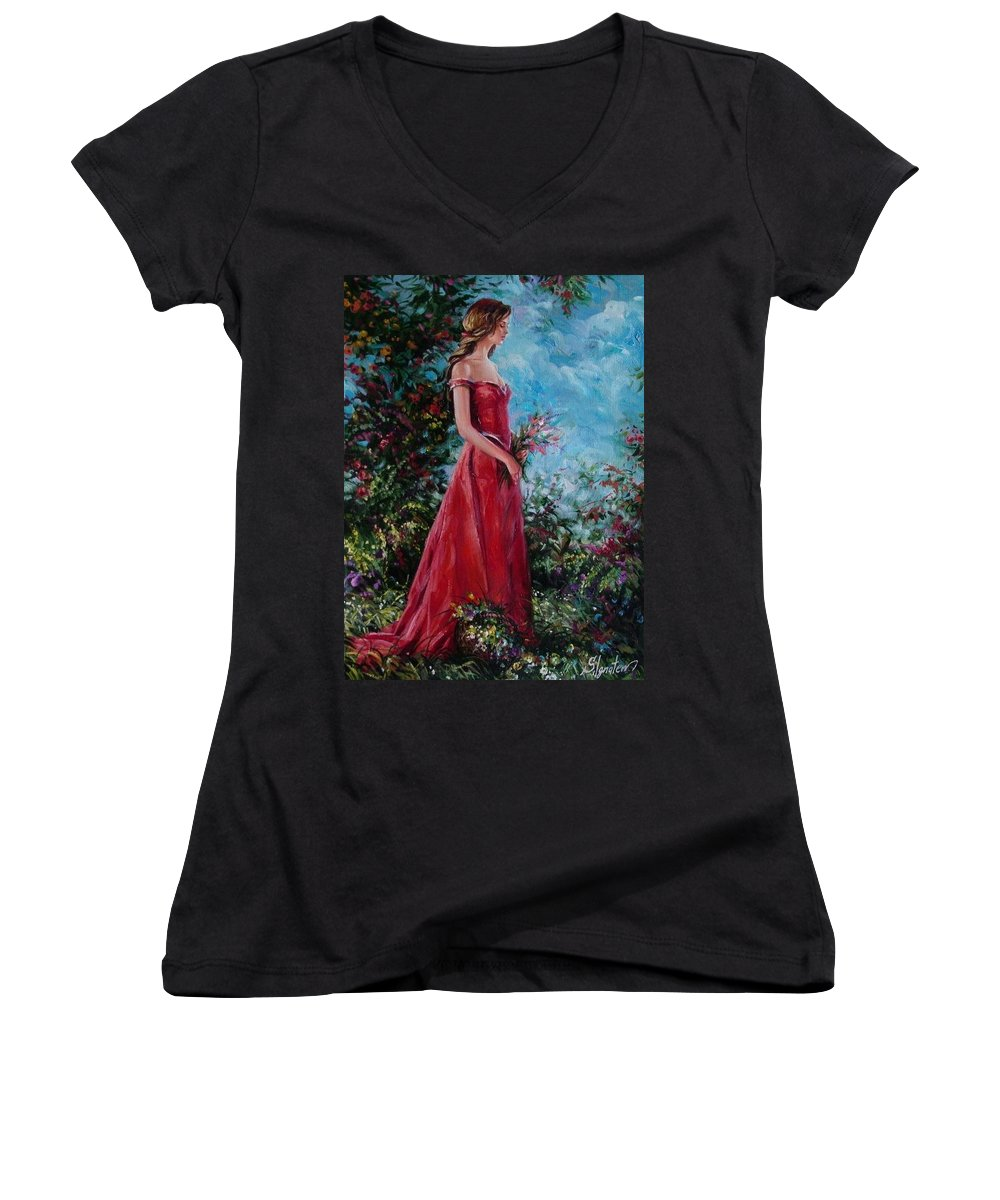 Figurative Women's V-Neck T-Shirt featuring the painting In Summer Garden by Sergey Ignatenko