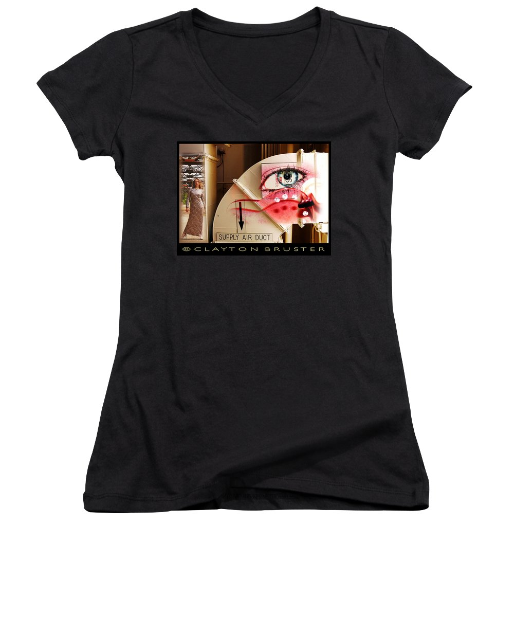 Women's V-Neck T-Shirt featuring the photograph Industrial Ceiling Dreams by Clayton Bruster