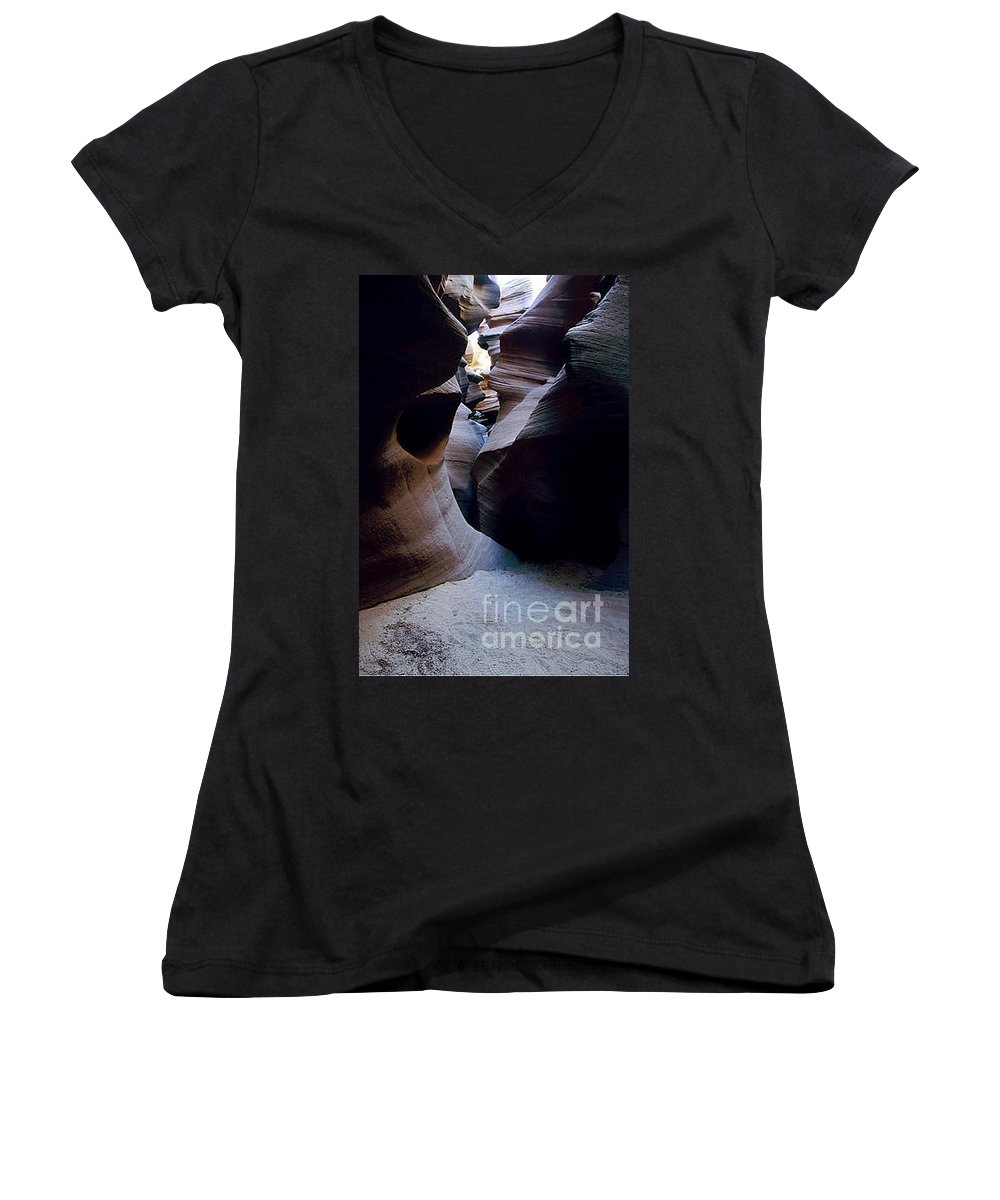 Slot Canyons Women's V-Neck T-Shirt featuring the photograph Into The Depths by Kathy McClure