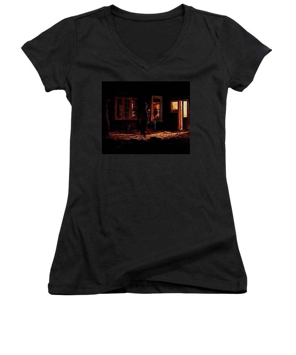 Night Women's V-Neck T-Shirt featuring the painting Into The Night by Valerie Patterson