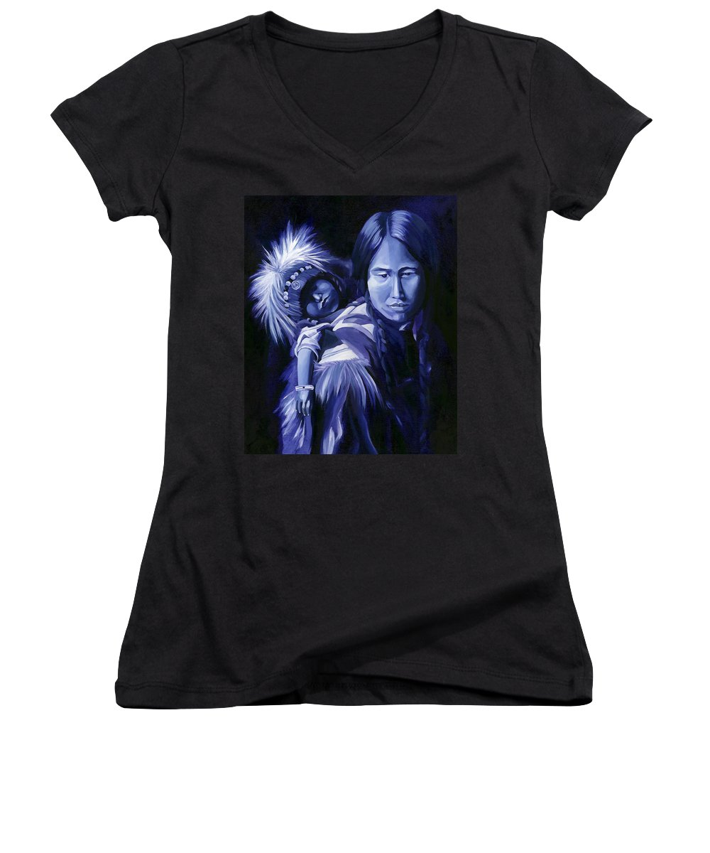 Native American Women's V-Neck T-Shirt featuring the painting Inuit Mother And Child by Nancy Griswold