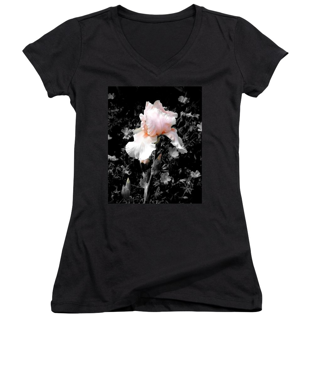 Flower Women's V-Neck (Athletic Fit) featuring the photograph Iris Emergance by Steve Karol