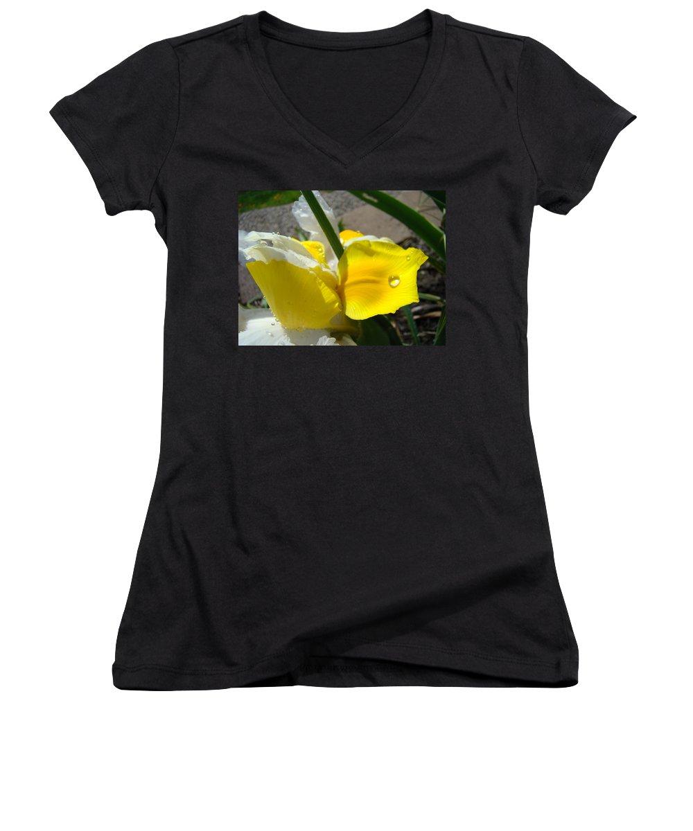 �irises Artwork� Women's V-Neck T-Shirt featuring the photograph Irises Artwork Iris Flowers Art Prints Flower Rain Drops Floral Botanical Art Baslee Troutman by Baslee Troutman