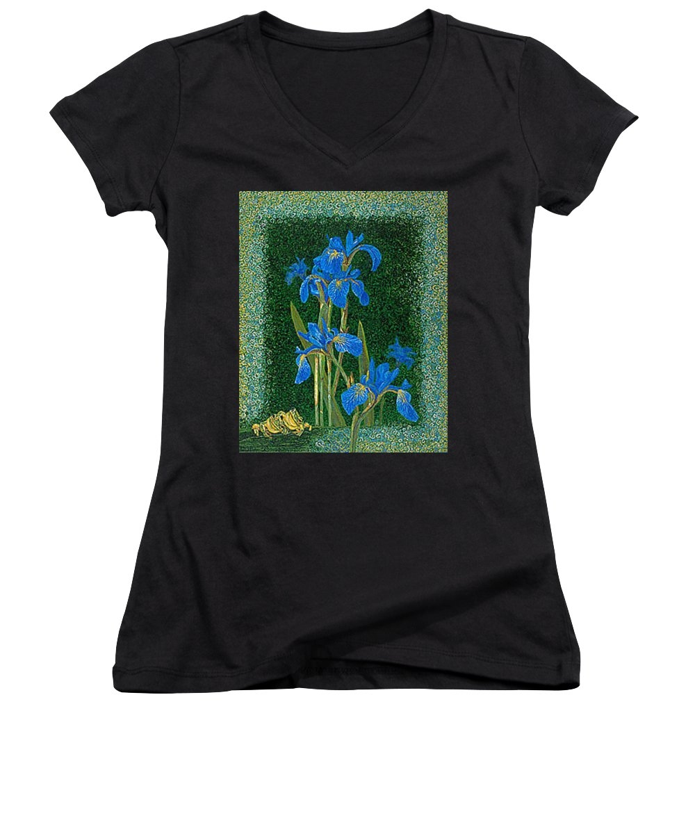 Irises Women's V-Neck T-Shirt featuring the painting Irises Blue Flowers Lucky Love Frog Friends Fine Art Print Giclee High Quality Exceptional Colors by Baslee Troutman