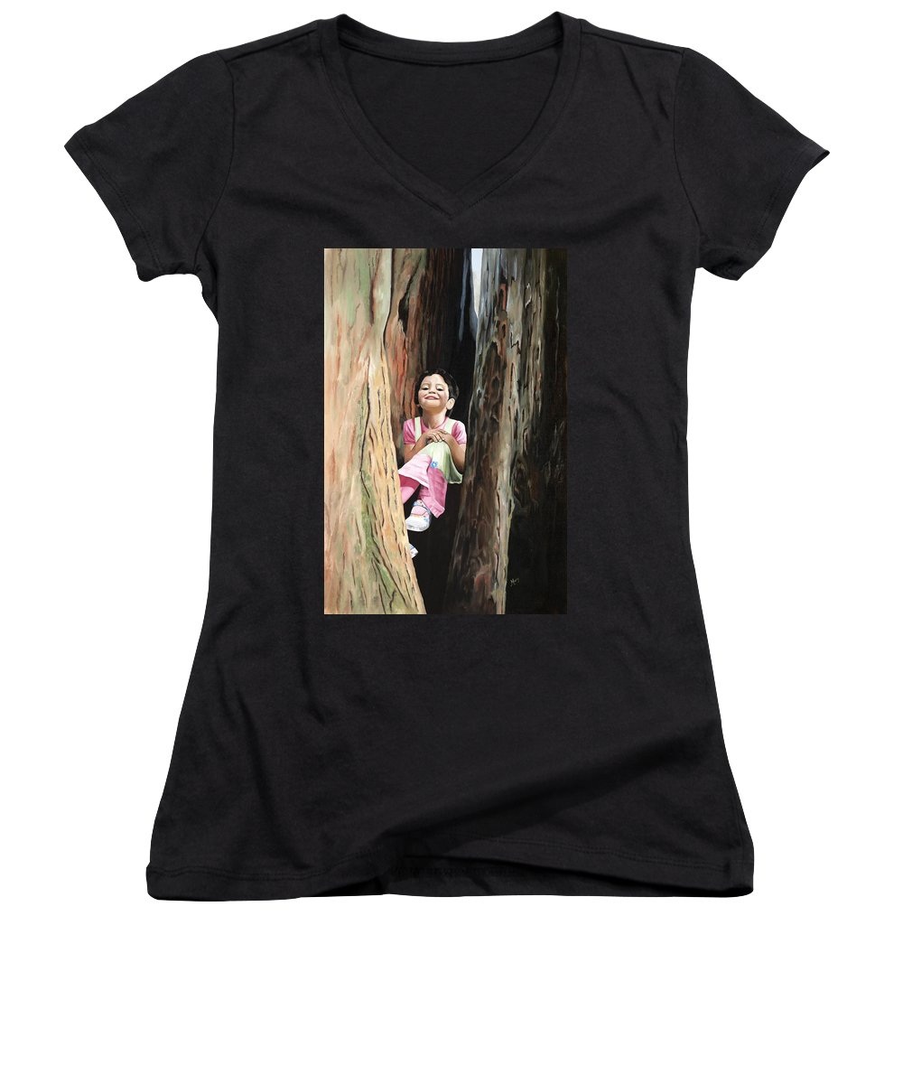 Girl Women's V-Neck T-Shirt featuring the painting Isabella Of Kilkenny by Mary Rogers