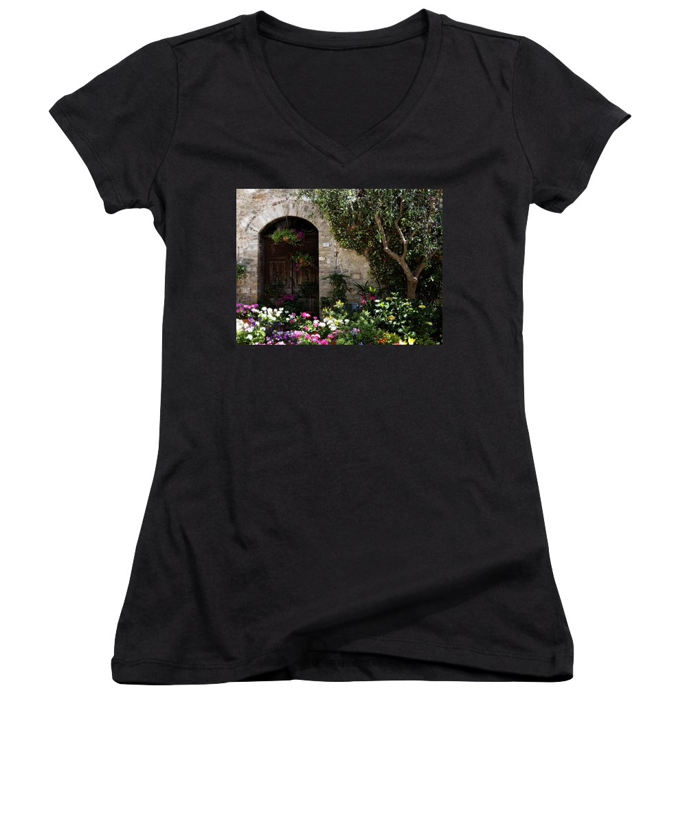 Flower Women's V-Neck T-Shirt featuring the photograph Italian Front Door Adorned With Flowers by Marilyn Hunt