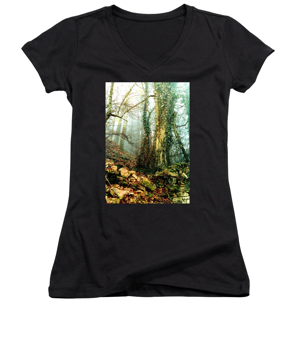 Ivy Women's V-Neck T-Shirt featuring the photograph Ivy In The Woods by Nancy Mueller