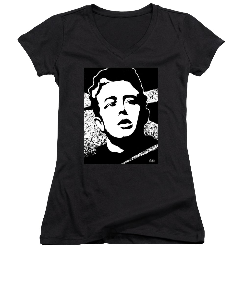 James Dean Women's V-Neck T-Shirt featuring the painting James Dean by Curtiss Shaffer