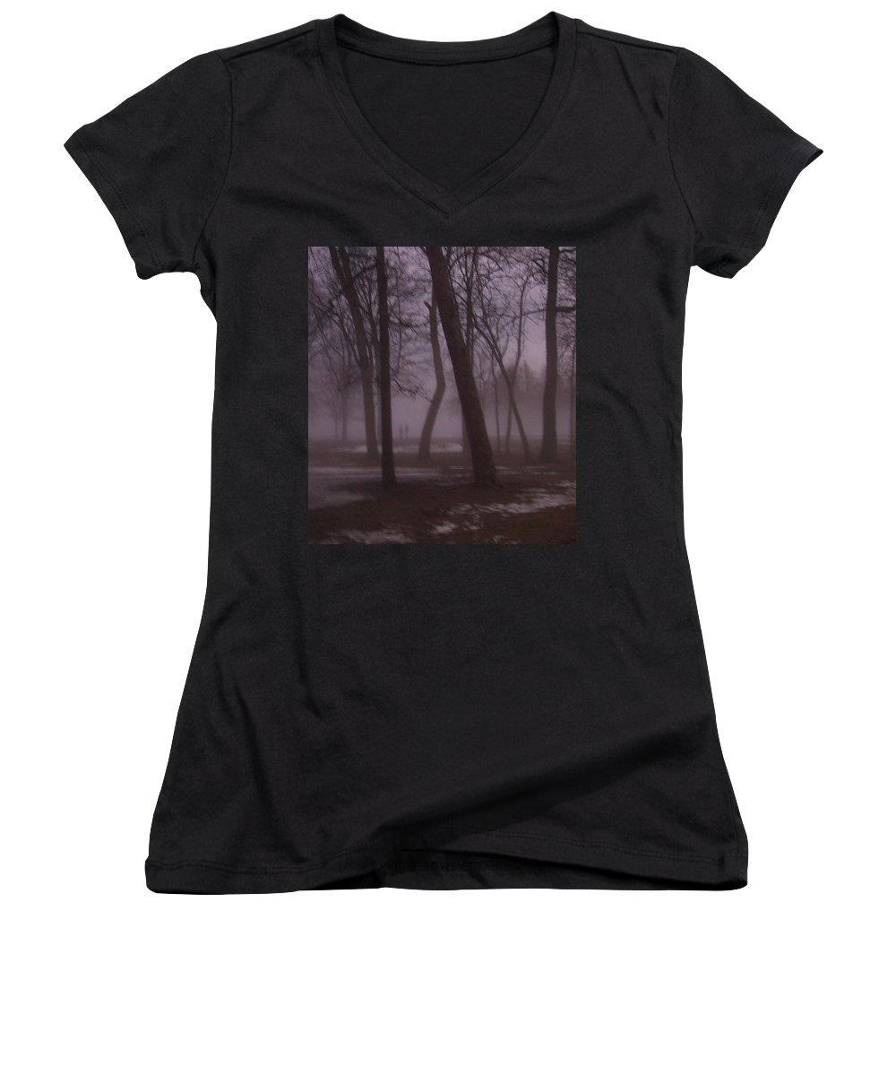 January Women's V-Neck (Athletic Fit) featuring the photograph January Fog 1 by Anita Burgermeister