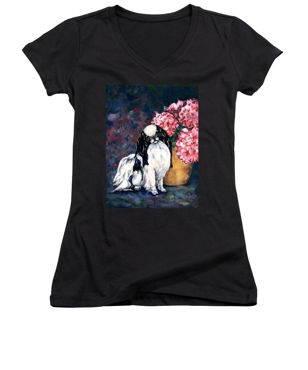 Japanese Chin Women's V-Neck T-Shirt featuring the painting Japanese Chin And Hydrangeas by Kathleen Sepulveda