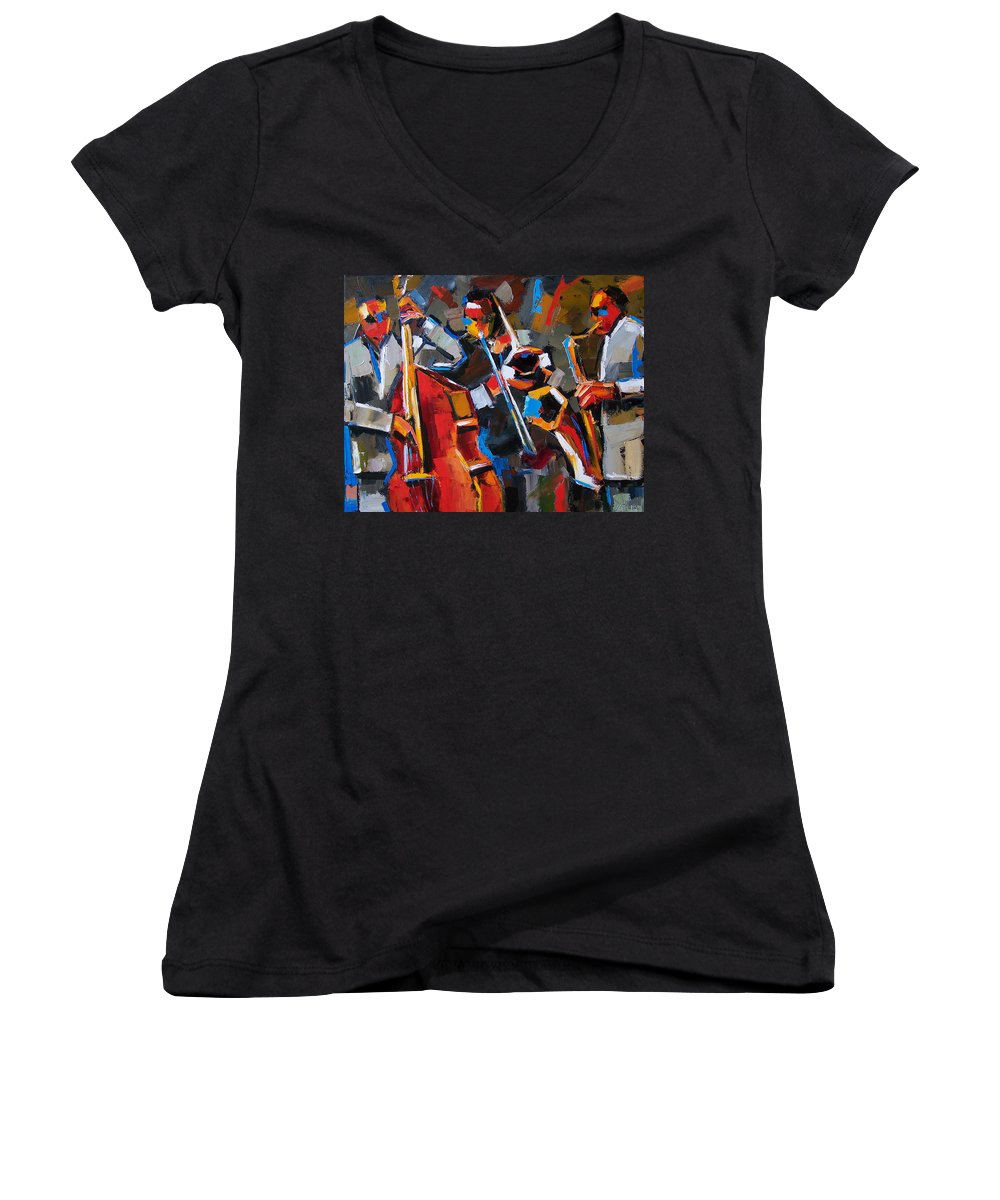 Jazz Women's V-Neck T-Shirt featuring the painting Jazz Angles by Debra Hurd