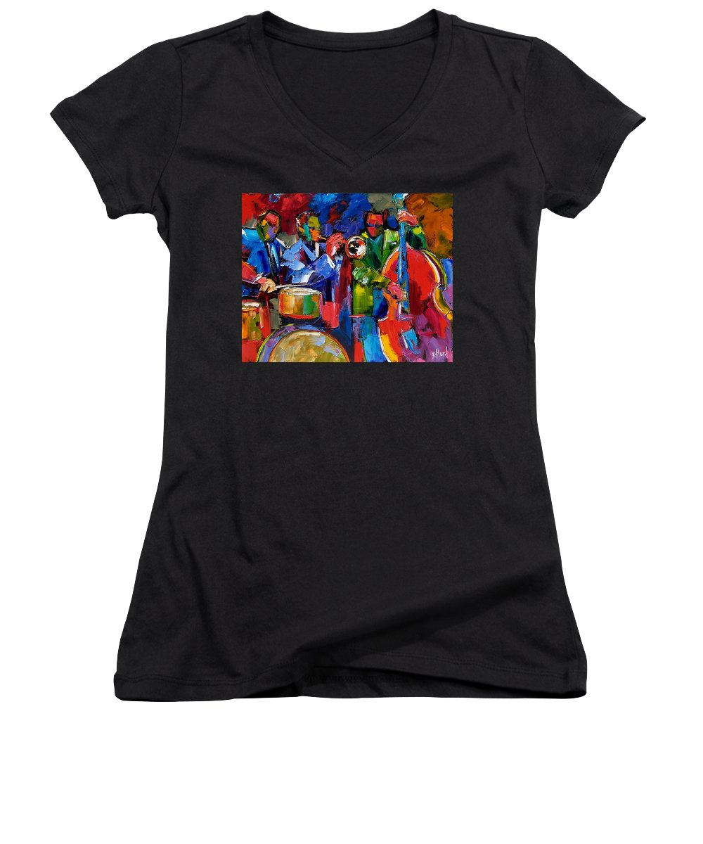 Jazz Women's V-Neck (Athletic Fit) featuring the painting Jazz Beat by Debra Hurd