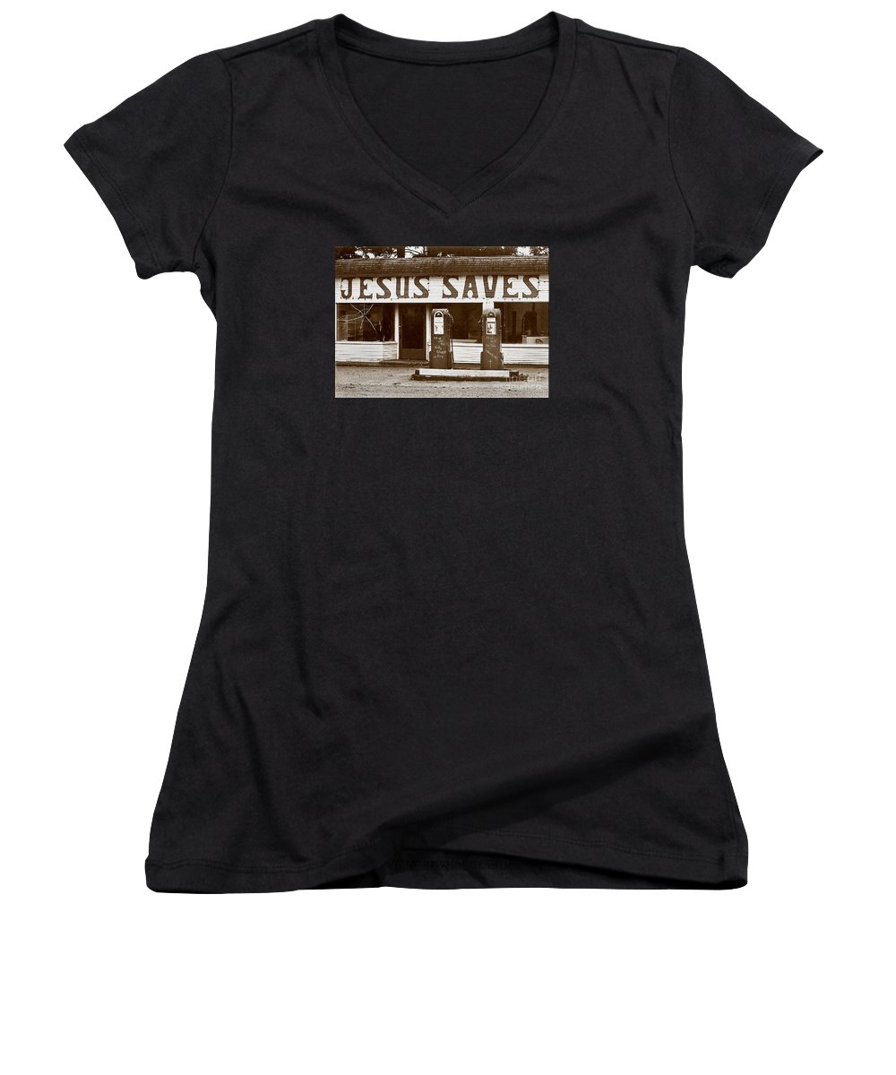 Jesus Women's V-Neck T-Shirt featuring the photograph Jesus Saves 1973 by Michael Ziegler