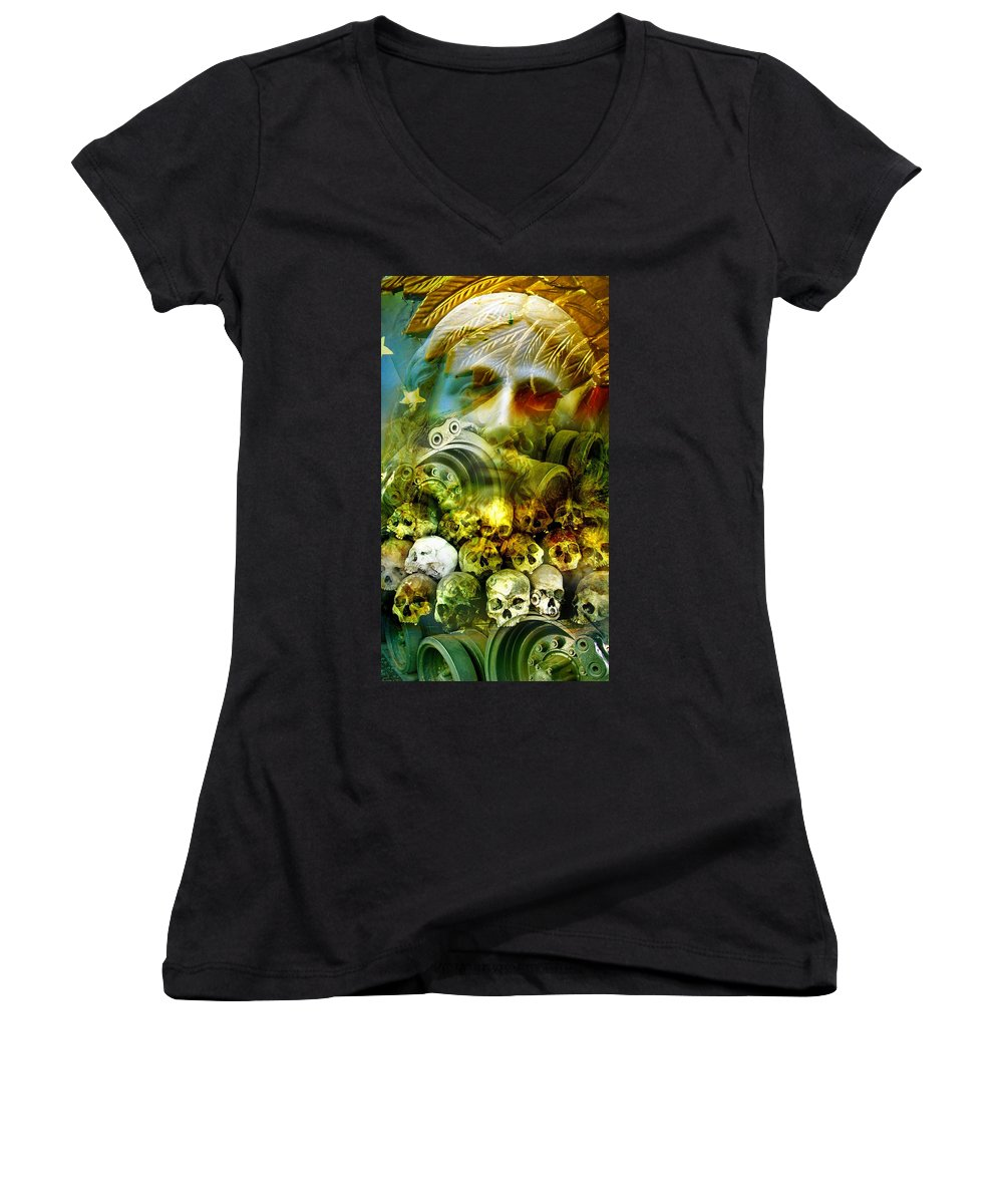 Jesus Women's V-Neck T-Shirt featuring the photograph Jesus Wept by Skip Hunt