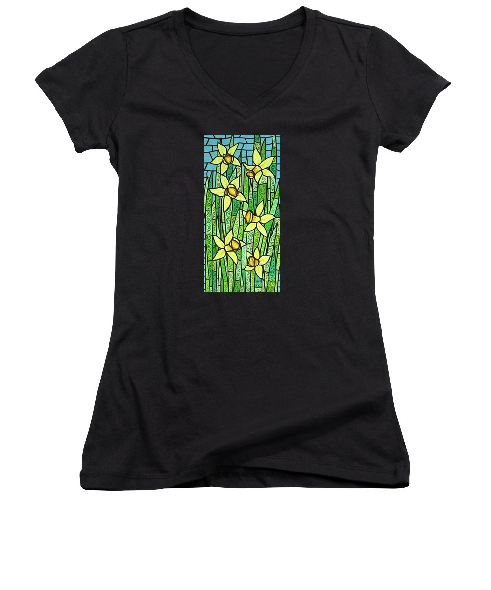 Jonquils Women's V-Neck T-Shirt featuring the painting Jonquil Glory by Jim Harris