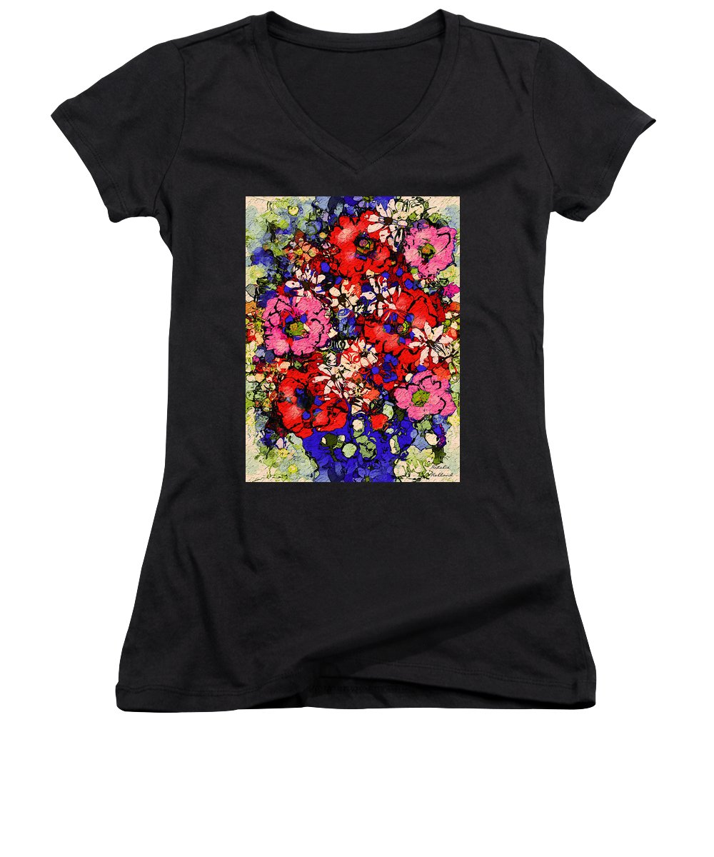 Floral Abstract Women's V-Neck T-Shirt featuring the painting Joyful Flowers by Natalie Holland