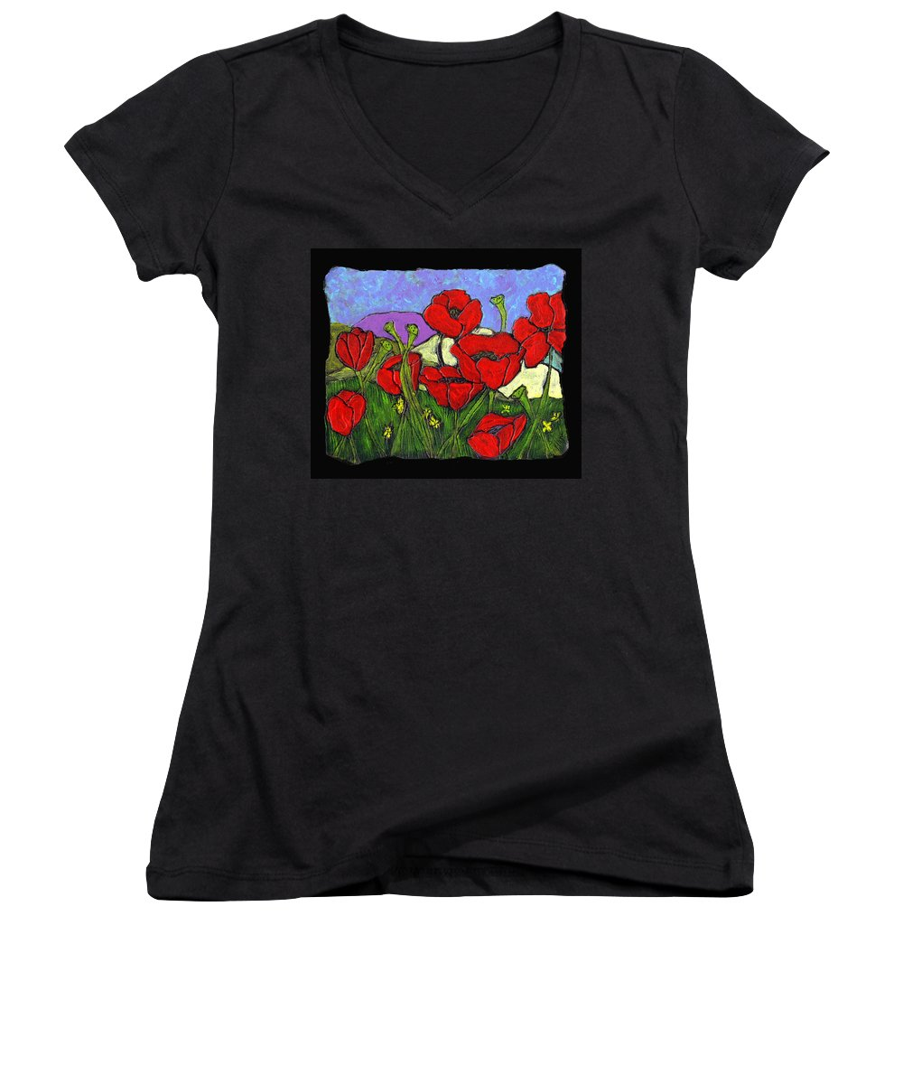 Poppies Women's V-Neck T-Shirt featuring the painting June Poppies by Wayne Potrafka
