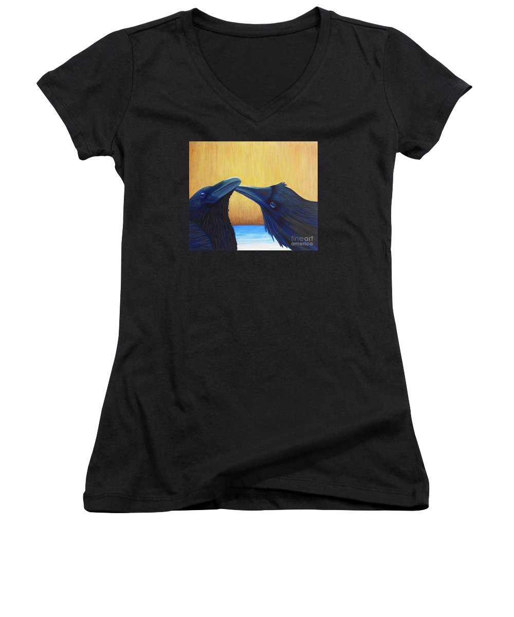 Ravens Women's V-Neck (Athletic Fit) featuring the painting K And B by Brian Commerford