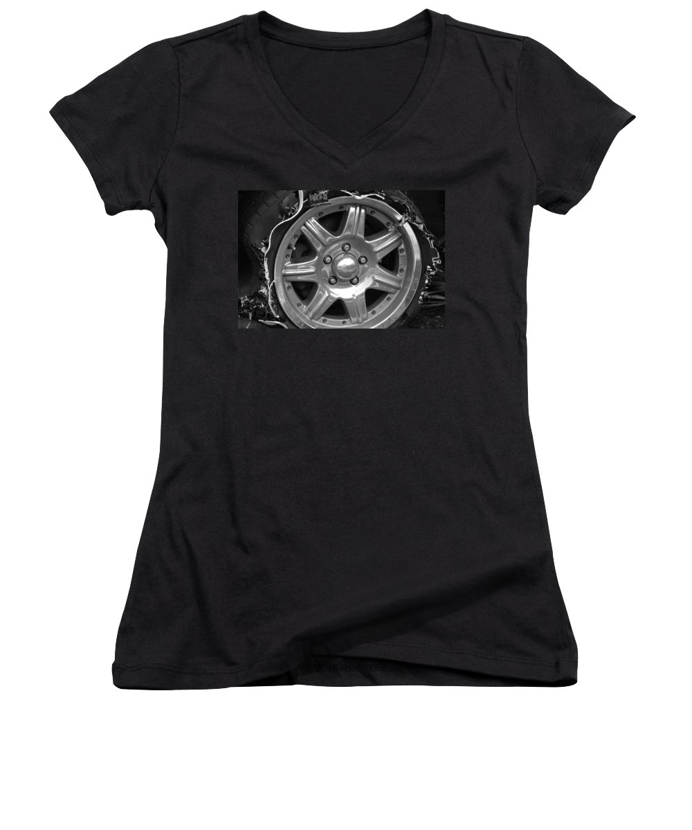 Black And White Women's V-Neck T-Shirt featuring the photograph Karma Is A Bitch by Rob Hans