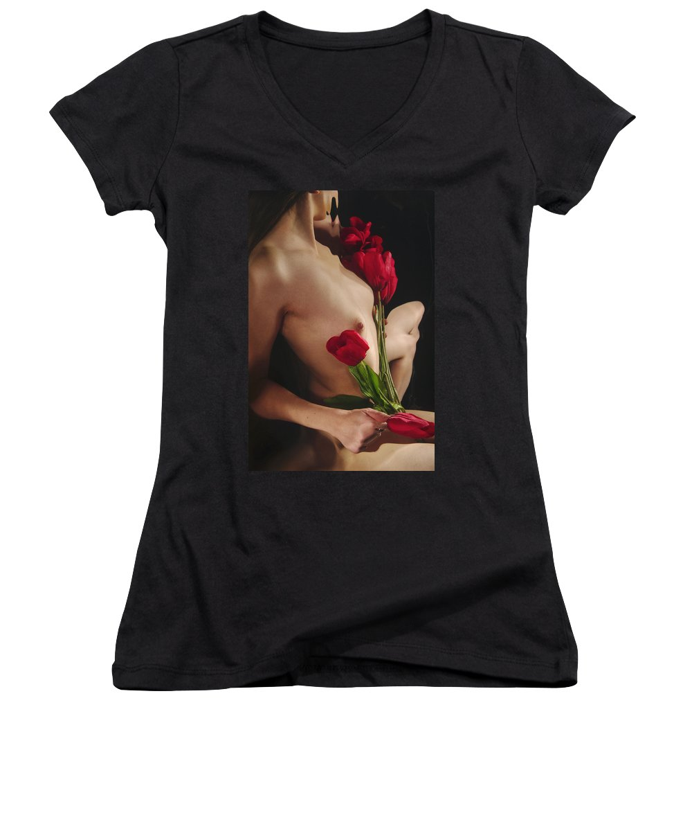 Female Nude Abstract Mirrors Flowers Women's V-Neck T-Shirt featuring the photograph Kazi1126 by Henry Butz