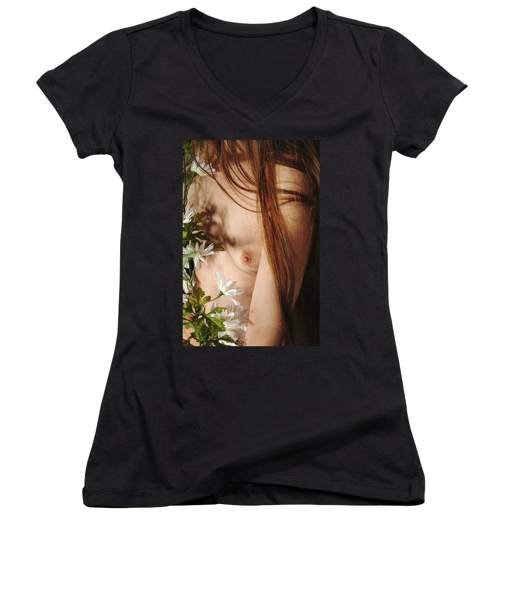 Female Nude Abstract Mirrors Flowers Women's V-Neck T-Shirt featuring the photograph Kazi1141 by Henry Butz