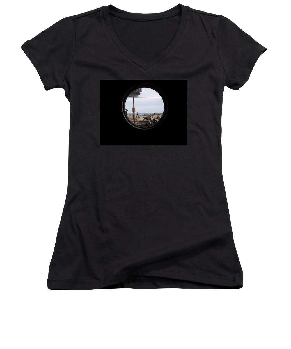 Kitty Hawk Women's V-Neck T-Shirt featuring the photograph Kitty Hawk by Flavia Westerwelle