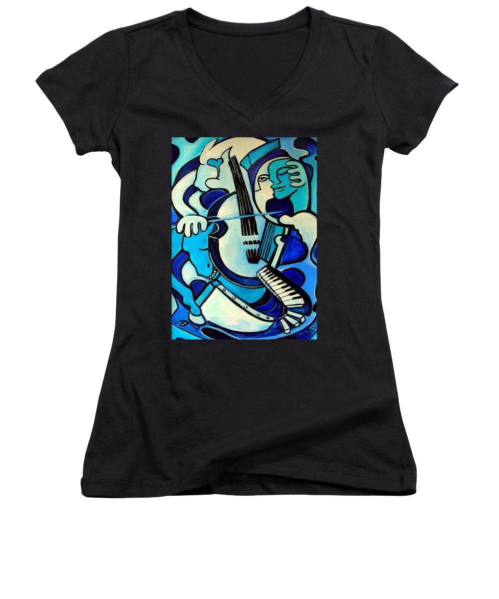 Abstract Women's V-Neck T-Shirt featuring the painting L Amour Ou Quoi by Valerie Vescovi