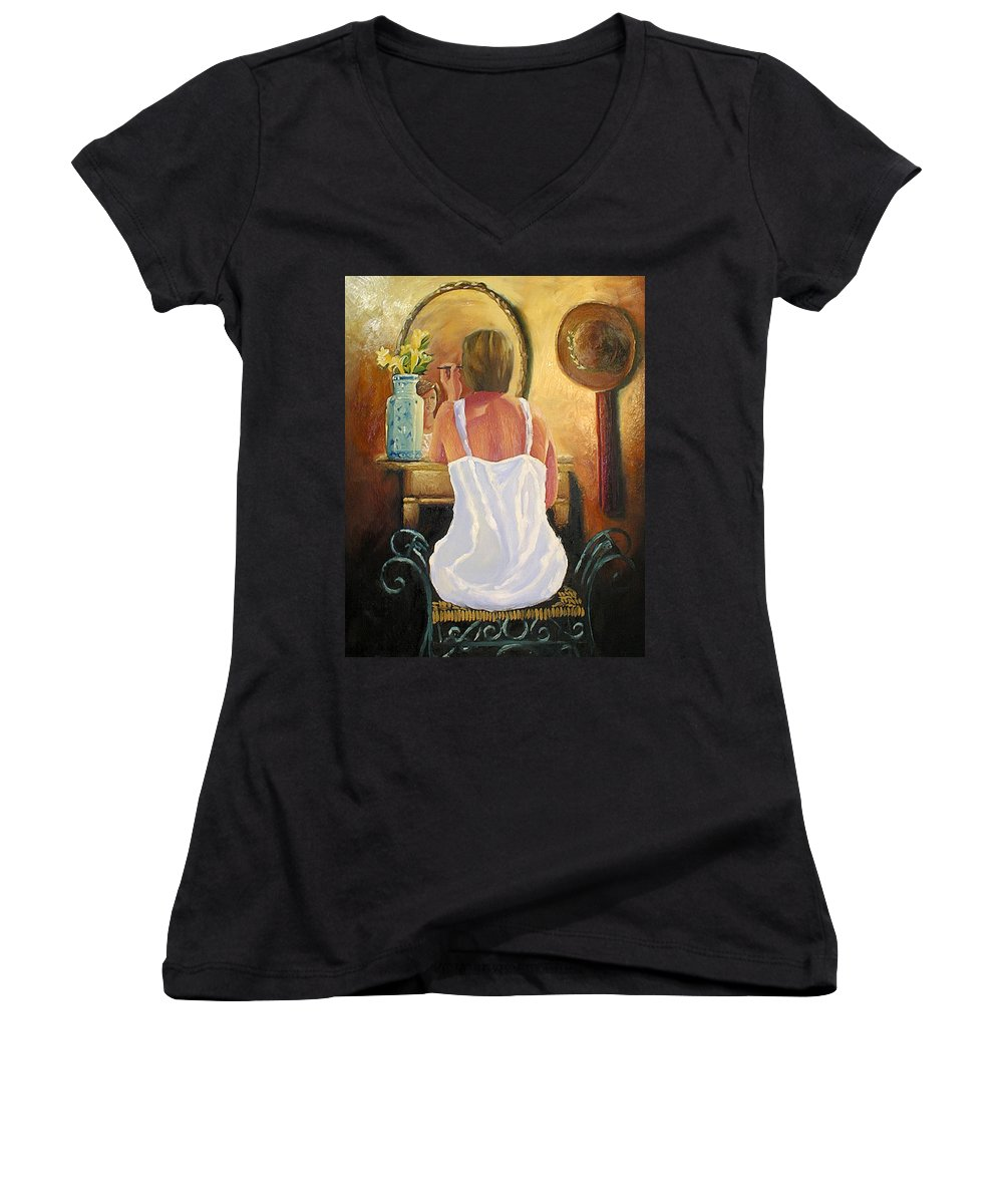 People Women's V-Neck (Athletic Fit) featuring the painting La Coqueta by Arturo Vilmenay