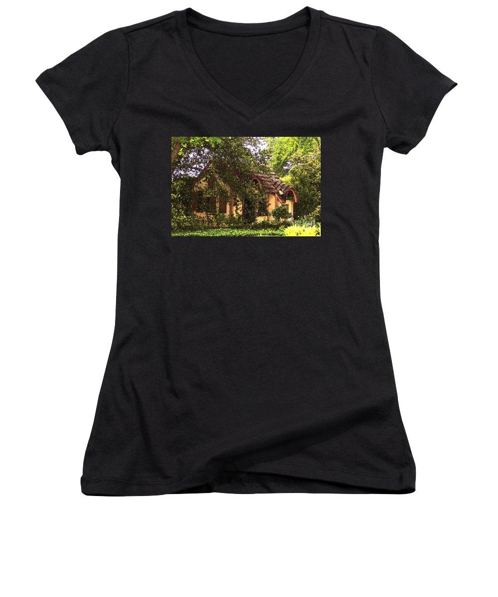 Cottage Women's V-Neck T-Shirt featuring the photograph La Maison by Debbi Granruth