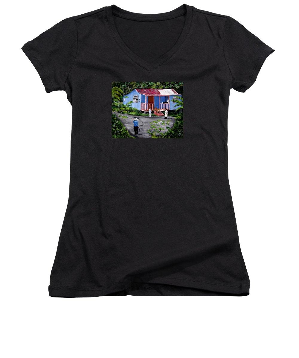 Campo Women's V-Neck T-Shirt featuring the painting La Vida En Las Montanas De Moca by Luis F Rodriguez