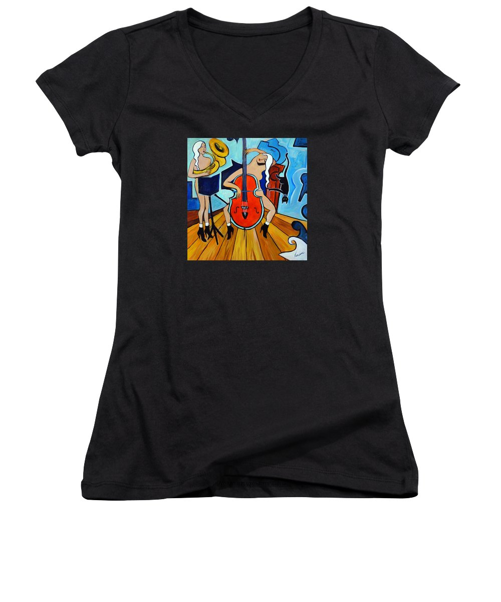 Musicians Women's V-Neck (Athletic Fit) featuring the painting Lady In Red by Valerie Vescovi