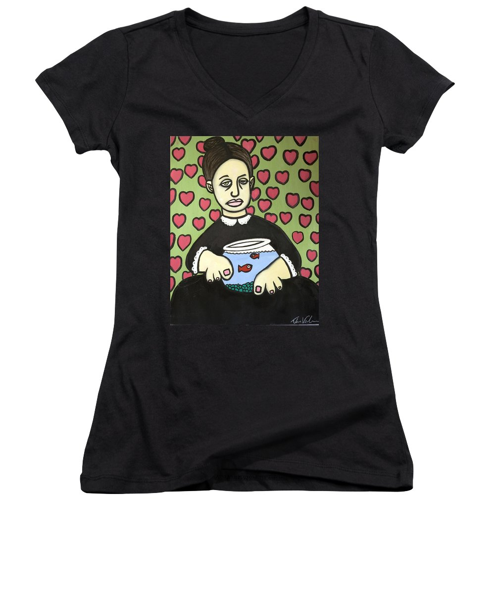Women's V-Neck T-Shirt featuring the painting Lady With Fish Bowl by Thomas Valentine