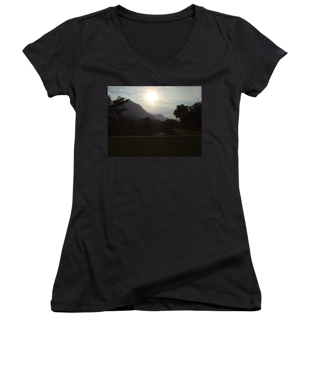 Lake Lure Women's V-Neck T-Shirt featuring the photograph Lake Lure by Flavia Westerwelle