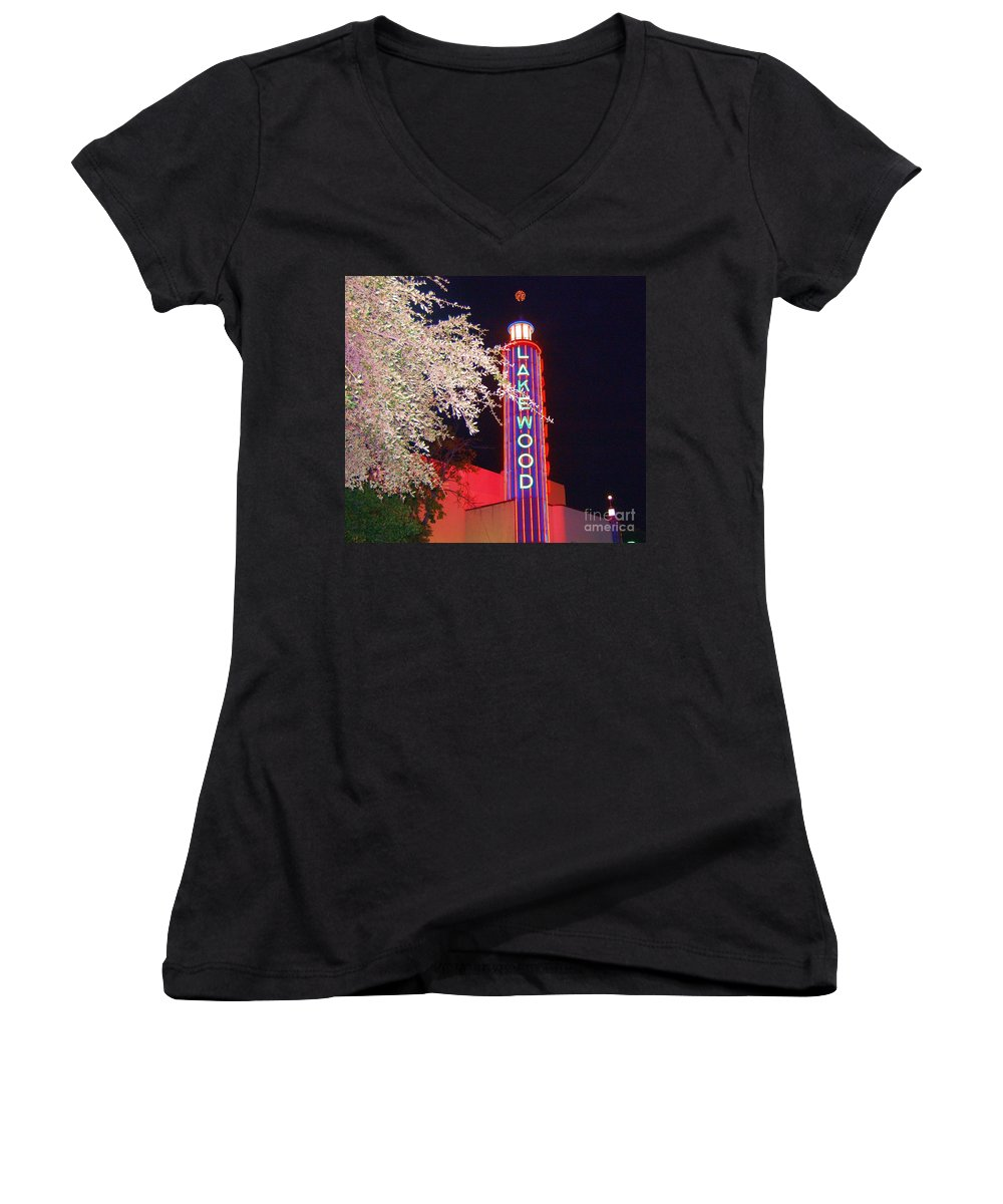 Theater Women's V-Neck (Athletic Fit) featuring the photograph Lakewood Theater by Debbi Granruth