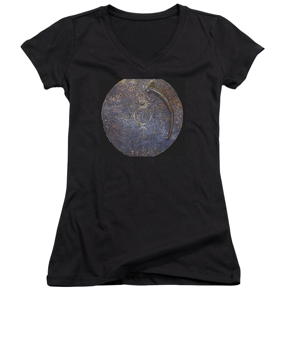 Lapland Women's V-Neck T-Shirt featuring the photograph Lapland Shaman Drum by Merja Waters