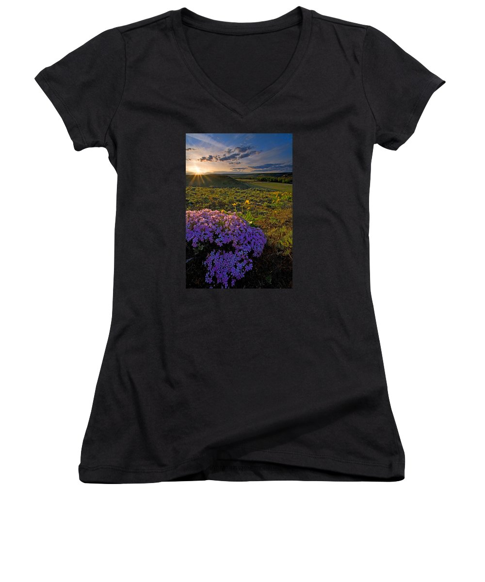 Wildflowers Women's V-Neck (Athletic Fit) featuring the photograph Last Light Of Spring by Mike Dawson