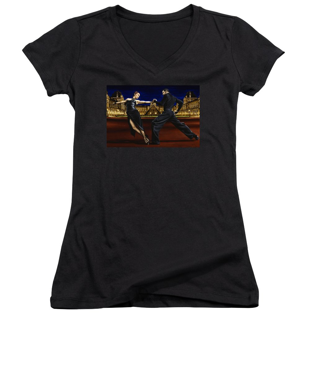 Tango Women's V-Neck (Athletic Fit) featuring the painting Last Tango In Paris by Richard Young