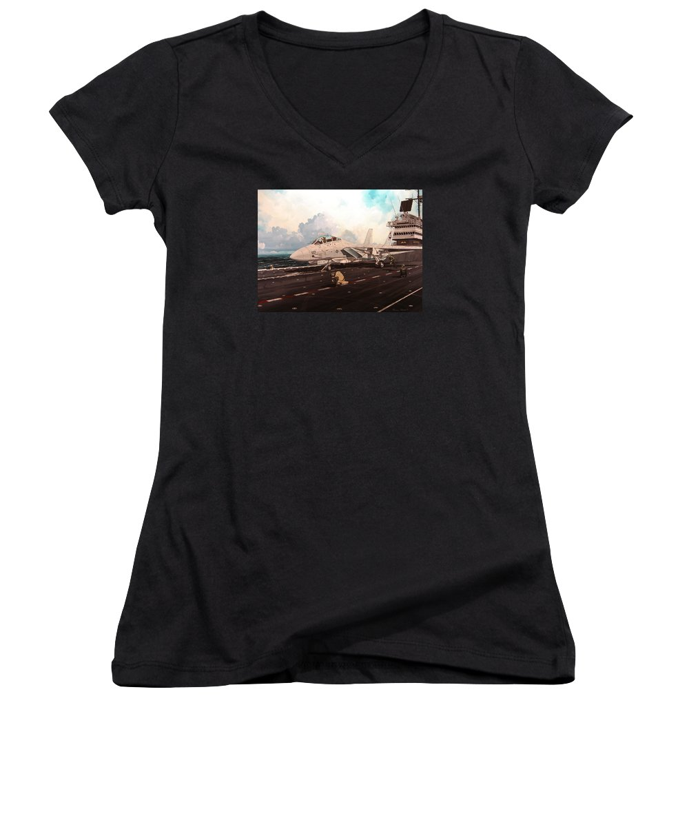 Military Women's V-Neck T-Shirt featuring the painting Launch The Alert 5 by Marc Stewart